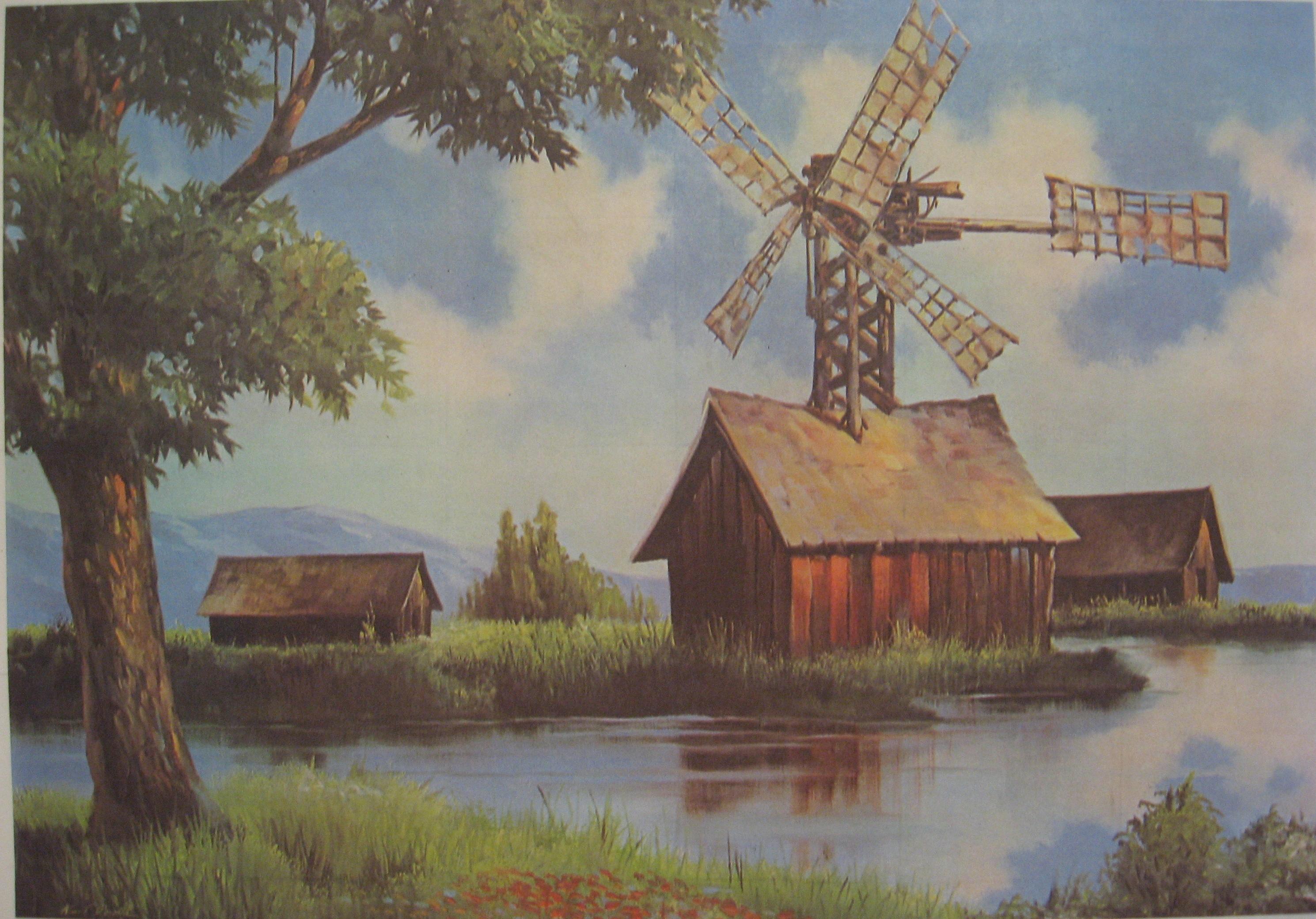 Рисунок сельский пейзаж 4